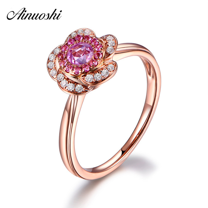 AINUOSHI 0.47 Carat Round Cut Red Sona Halo Rings 925 Sterling Silver Rose Gold Color Flower Rings Engagement Wedding Jewelry