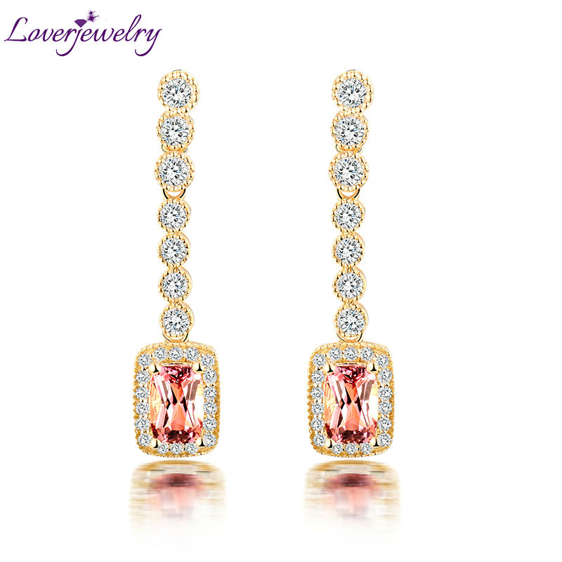 Charming Cushion Cut Tourmaline Drop Earrings Solid 18Kt Yellow Gold Real Diamond Pink stone for Women Birthday Gift pair of charming rectangle drop earrings for women