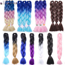s-noilite Ombre Kanekalon Jumbo Braids Hair 24inch 100g Synthetic Crochet Braids Hair Extensions Fiber For Women Pink Green Blue(China)