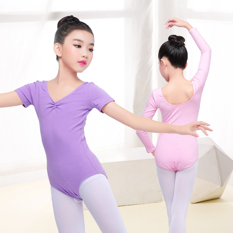 Girls Children Basic Cotton Ballet Dance Leotard Toddler Kids Gymnastics Leotard Open Crotch Closed Crotch Two Styles