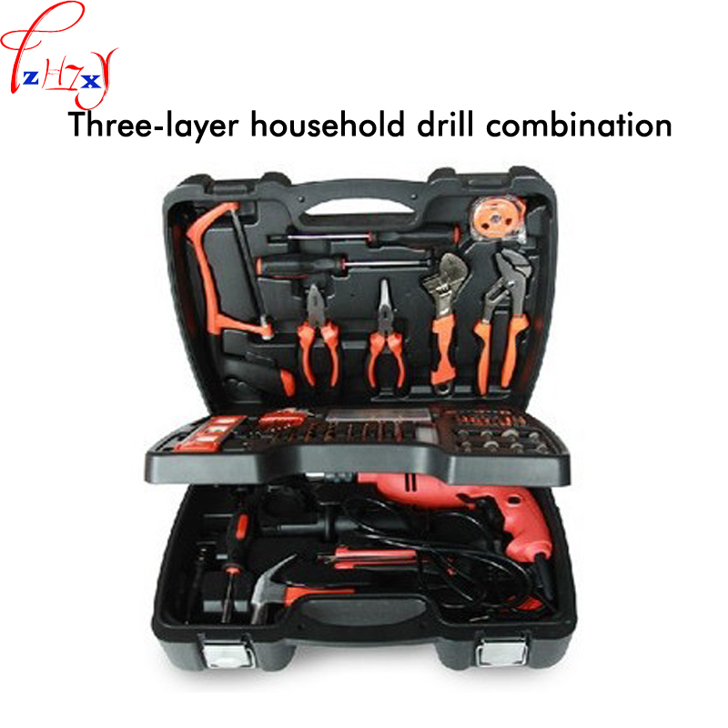 Multi-function power tools kit 138pcs three layers home electric drill combination DIY tool electric impact drill set 46pcs socket set 1 4 drive ratchet wrench spanner multifunctional combination household tool kit car repair tools set