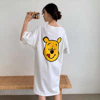 casual Loose Cotton night dress Summer Sexy Women Nightgown Home Wear Lovely cartoon print white Nightgown Young Girl Sleepwear
