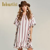 Bohoartist Women Patchwork Boho Apparel 2017 Summer Stripes Ruffles Mermaid Dress Tassel OL Style Elegant Ladies