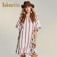 Bohoartist Women Patchwork Boho Apparel 2017 Summer Stripes Ruffles Mermaid Dress Tassel OL Style Elegant Ladies