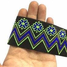 ZERZEEMOOY 2 inch 5cm 10yard/lot High quality Woven Jacquard Ribbon black background Fluorescent Green Wave Dog Collars DIY Lace