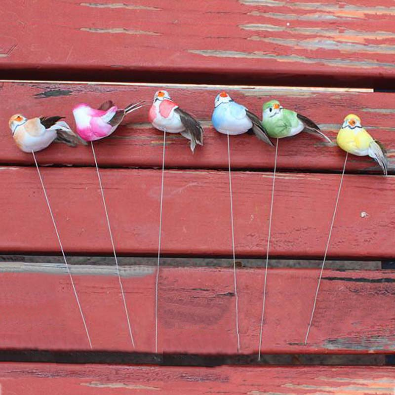 7cm 12pcs decorative bird artificial foam feather mini for Artificial birds for decoration