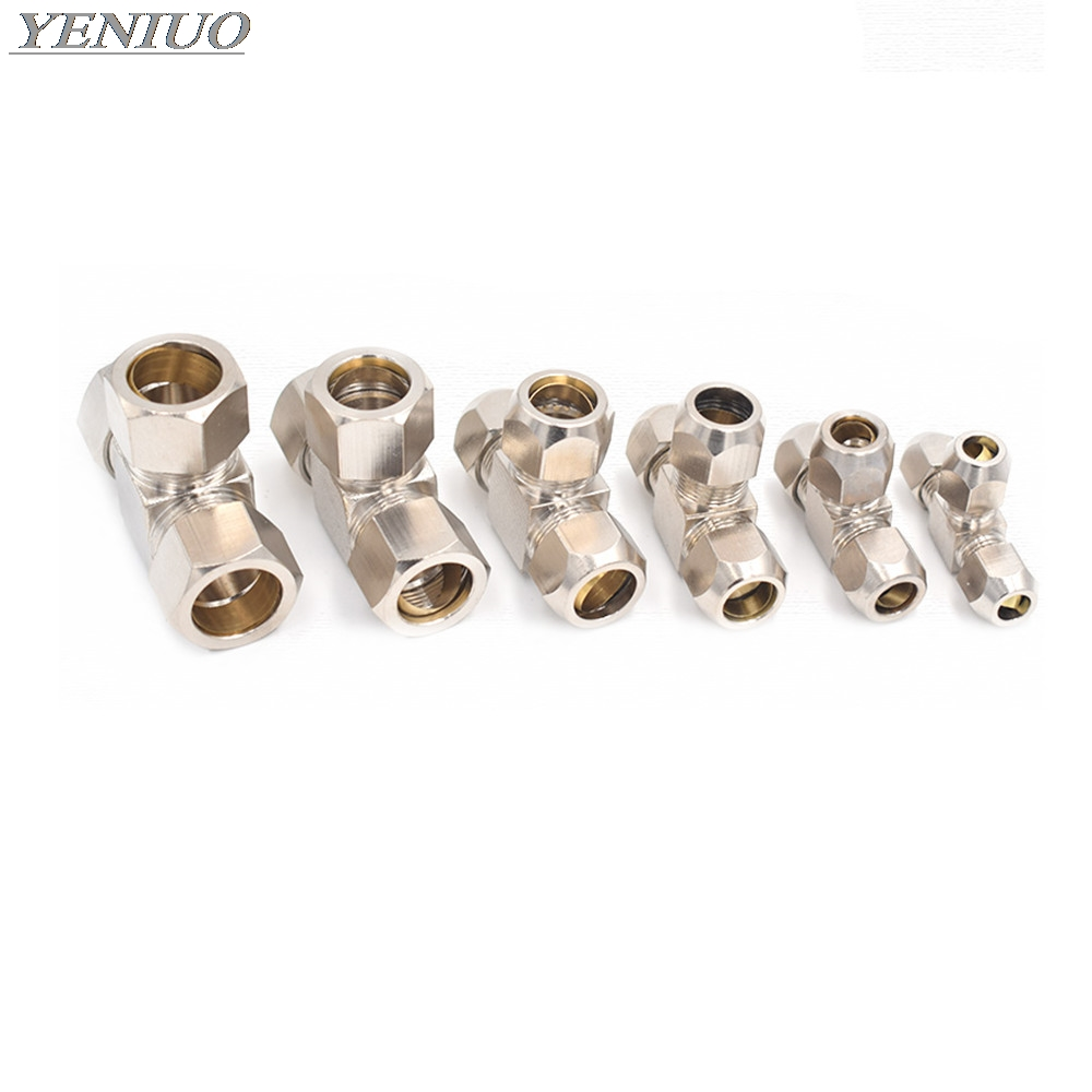 Pneumatic Fittings Brass T Type 4 6 8 10 12 14 16mm OD Tube Compression Ferrule Tube Compression Fitting Connector