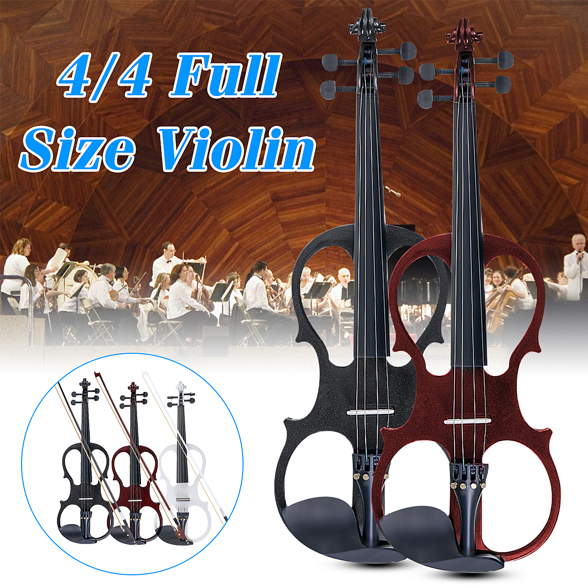 4/4 Electric Acoustic Violin Basswood Fiddle with Violin Case Cover Bow Rosin for Musical Stringed Instrument Lovers Beginners 4 4 portable electric violin with bow rosin carry case for beginner