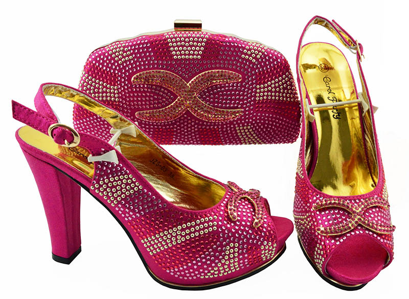 Latest <font><b>Fuchsia</b></font> Italian <font><b>Shoes</b></font> with Matching Bags for Wedding Italy African Women Italian <font><b>Shoes</b></font> and Bag Decorated with Rhinestones