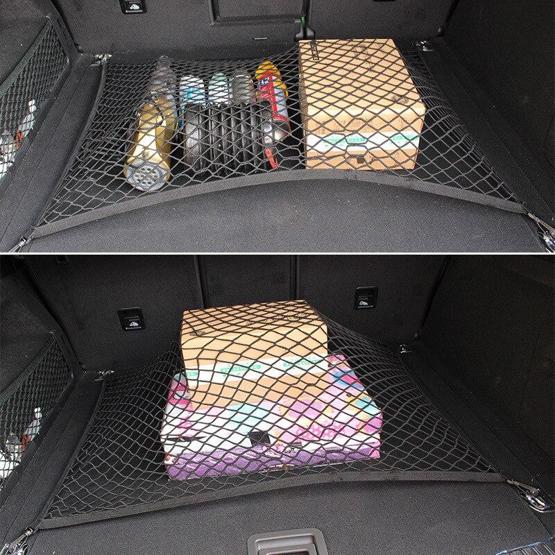 Автомобильная сетка грузовая держатель багажник Авто Эластичный хранения 4 крючка Автомобильный багажник Организатор для укладки для VW Tiguan