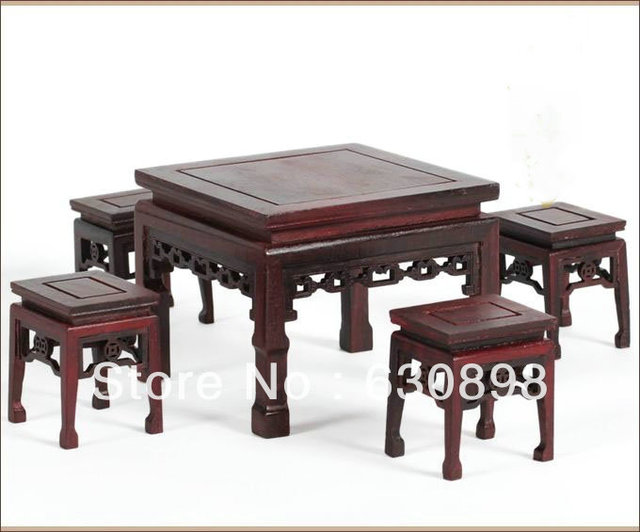 Ming Qing Furniture Miniature Red Sandalwood Wooden Table And Chairs Set  Antique Technique Chinese Wood Sculpture Decoration
