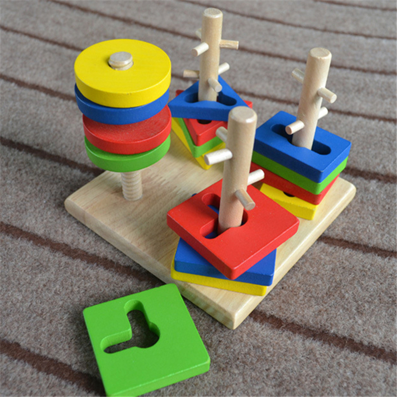 Hot Wooden Toy Geometry Building Combination Blocks Learning Early Educational Stacking Toys For Kids Baby High Quality Gifts new colorful wooden vegetables combination kitchen toys for pretend play wood building blocks children educational kids toy gift