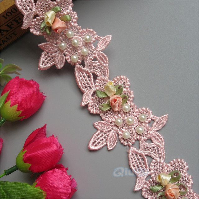 2 Yards Pink Pearl Flower Beaded Embroidered Lace Trim Ribbon Floral  Applique Patches Fabric Wedding Sewing
