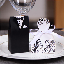 100pcs/lots Bride And Groom Wedding Favour Boxes With Ribbon