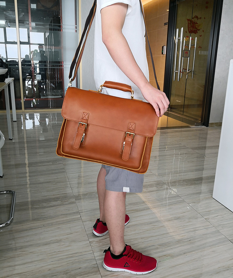 Nesitu Brown Thick Genuine Crazy Horse Leather Men Briefcase Male Portfolio Messenger Bags 14'' Laptop Shoulder Bag M7205