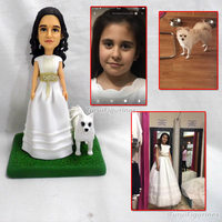 polymer clay doll Custom Bride and Groom Wedding Cake Topper funny wedding cake topper Global Travel Vacation Souvenirs