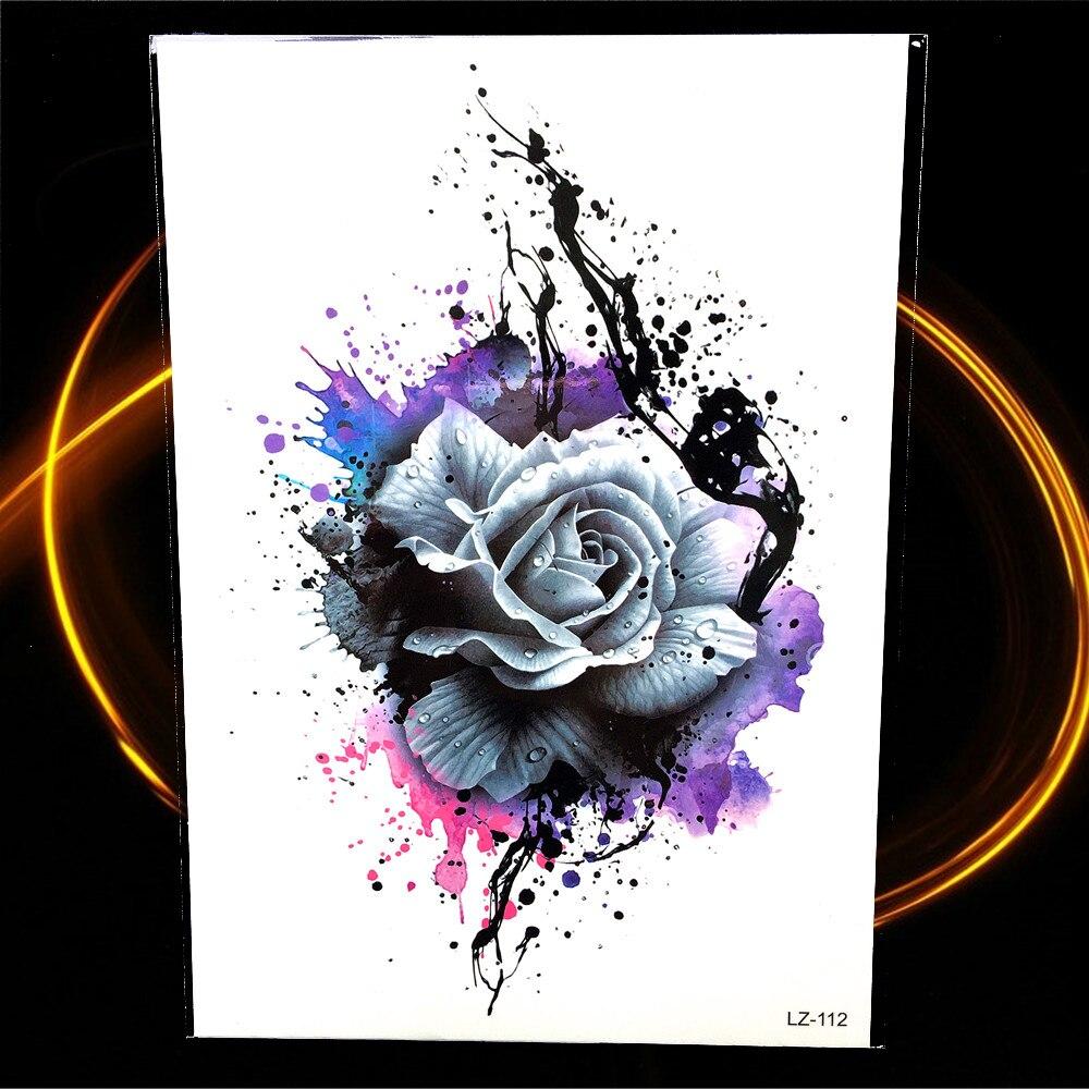Tinta tahan air 3d graffiti rose stiker tato temporer henna besar bunga lengan kaki tatoo palsu untuk wanita flash tattoo sticker di sementara tato dari