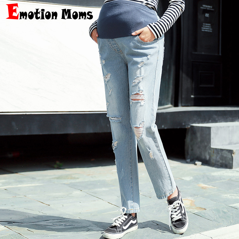 Emotion Moms Elastic Waist Straight Maternity Jeans For Pregnant Women Fine pregnancy Pants Maternity trousers Distrressed