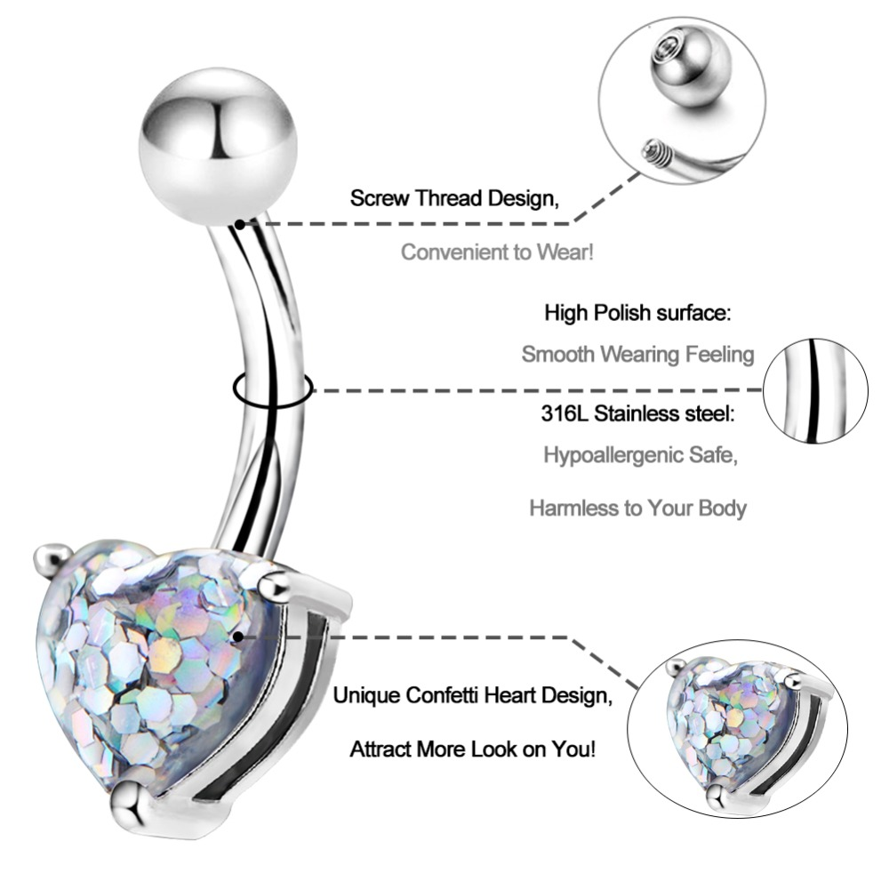 Jeweled Belly Button Ring High Polish 14g Surgical Steel