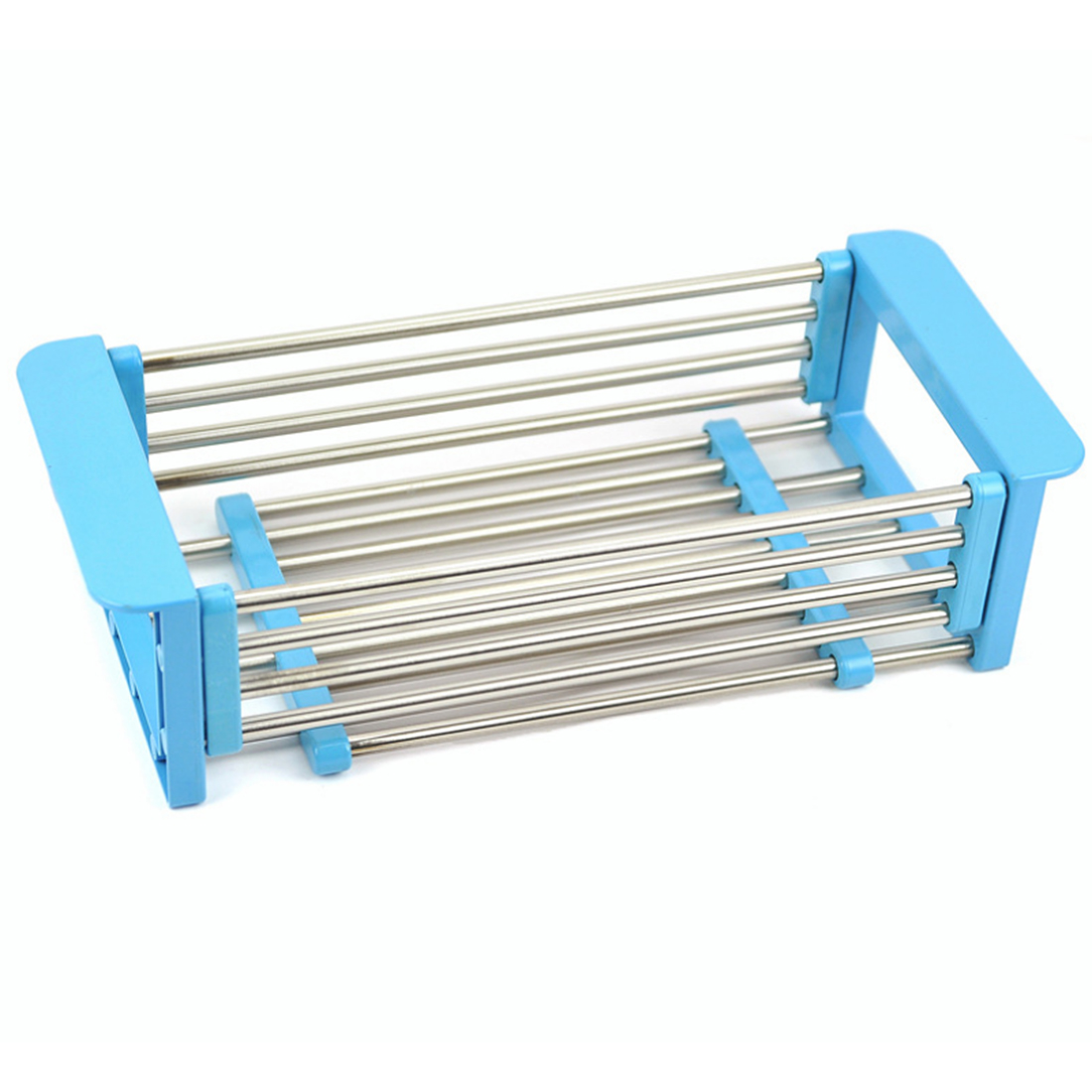 HIPSTEEN 1pcs Flexible Stainless Steel Storage Rack Single Layer Kitchen Dishes Sink Drain Board Storage Holder Organizer