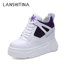 2019 New Women Platform Sneakers Leather High Heels Spring Breathable Wedge Casual Shoes 10CM Thick Sole Fashion Woman