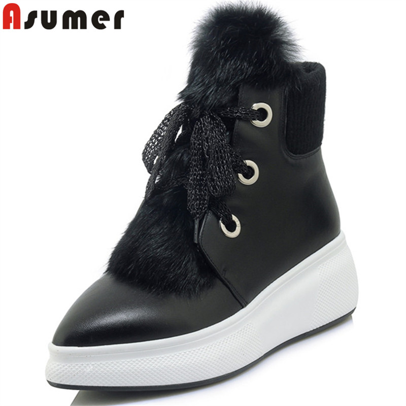 ASUMER black fashion ankle boots for women pointed toe lace up genuine leather boots cross tied fur autumn winter boots ASUMER black fashion ankle boots for women pointed toe lace up genuine leather boots cross tied fur autumn winter boots
