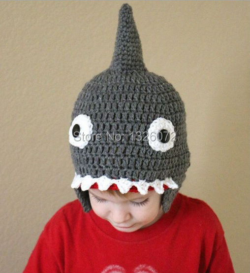 ec28971d0dc Novelty Autumn Winter Handmade Crocheted Children Shark Attack Cute Cool  Beanies Boy Girl Caps Halloween Funny Hats Shower Gifts