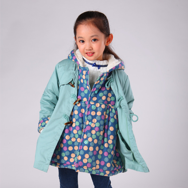 ФОТО Free shipping Winter new arrival girl dot false two-piece hooded outerwear cotton-padded coat children clothing