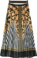 2019 Spring Woman Vintage Flower Printing Long Pleated Skirt Elastic High Waist A Line Maxi Skirt Casual Holiday Bohemian Skirt