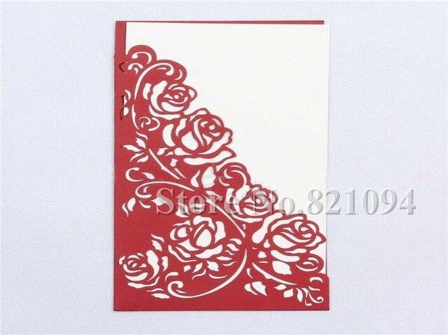 free shipping 50pcslot new rose design pocket stye invitation cards