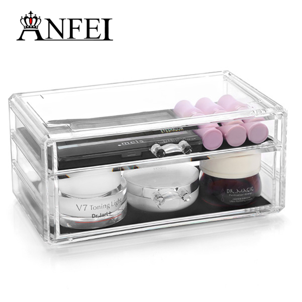 WEIAI Wholesale Customed Best Selling Acrylic Makeup Organizer With 2 Drawers Cosmetic Display Stand Square Box Makeup C198-5