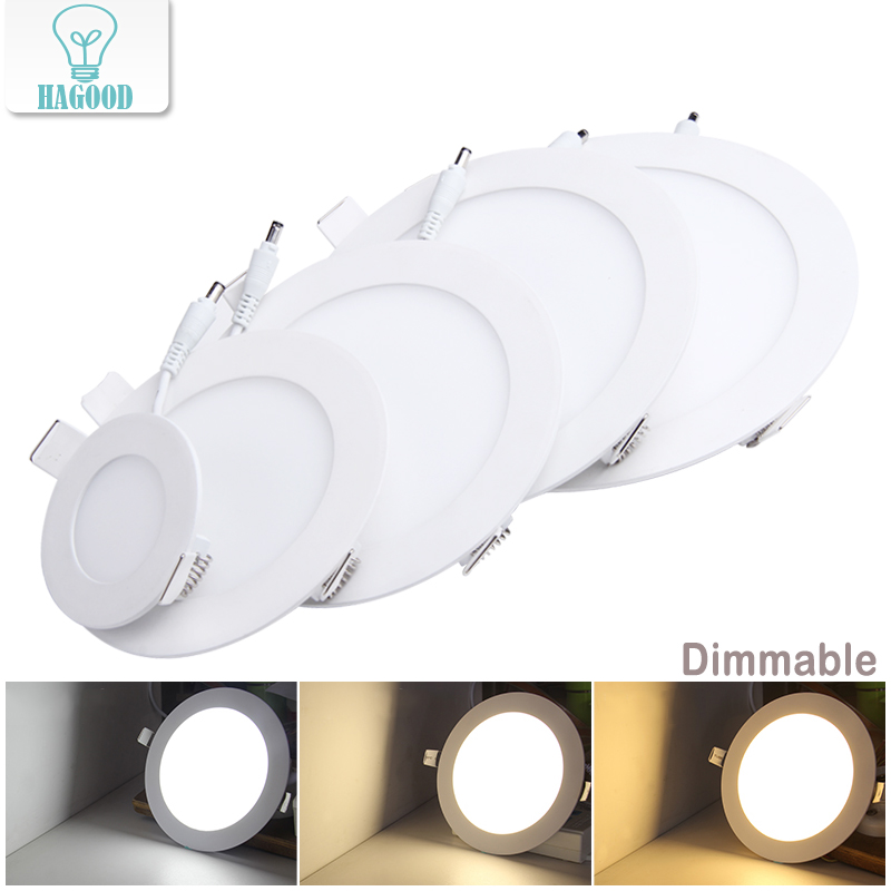 100pcs Dimmable Real Full Watt LED Panel Lamp Ceiling Light downlight with Dimmer Drive 3W/4W/6W/9W/12W/15W/18W/24W Warm/Cold