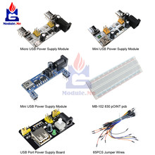 Breadboard 830 Point Solderless PCB Bread Board MB-102 MB102 Power Supply Board Test Develop DIY 65PCS Jumper Cable for Arduino