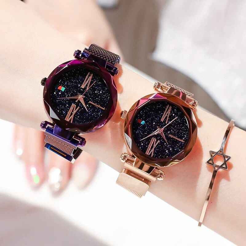 2019 Luxury Rose Gold Women Watches Minimalism Starry sky Magnet Fashion Casual Female Wristwatch Waterproof Clock Roman Numeral