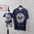 2016 Nuevo Diseño de la Ropa de la Familia Padre Madre Y Niños Camiseta de Algodón patrones Geométricos Camisa de Manga Corta Para Bebés y niños