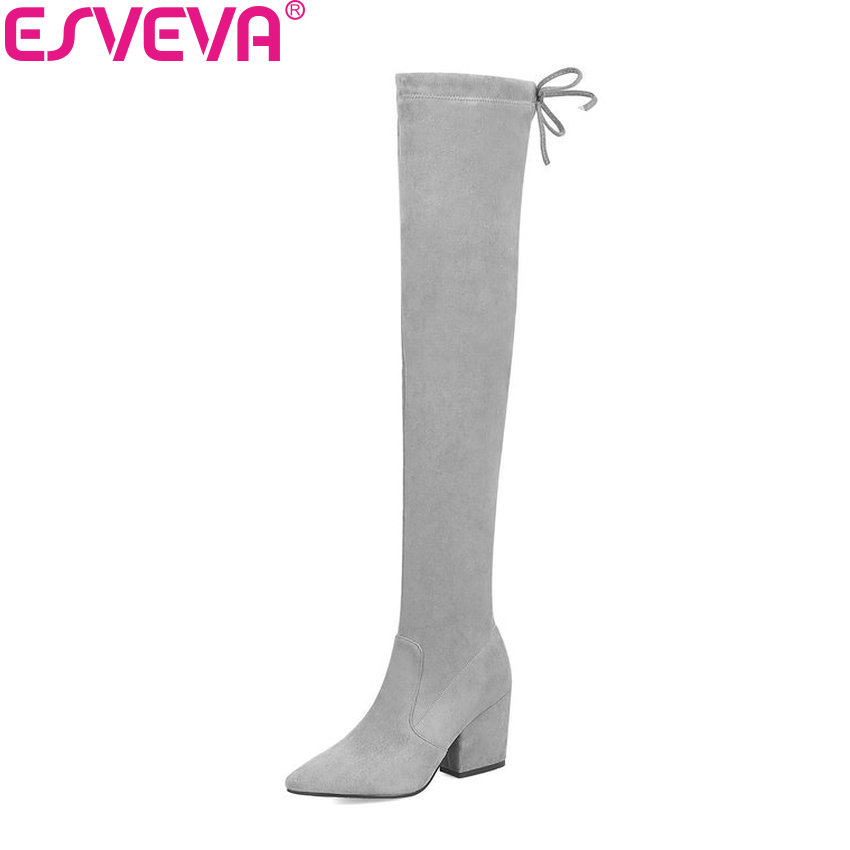 ESVEVA 2019 Women Boots Flock Lace Up Over The Knee Boots Winter Shoes Pointed Toe Square High Heels Elegant Long Shoes 34-43 esveva 2017 western style flock women boots over the knee boots winter square high heel ladies lace up fashion boots size 34 43