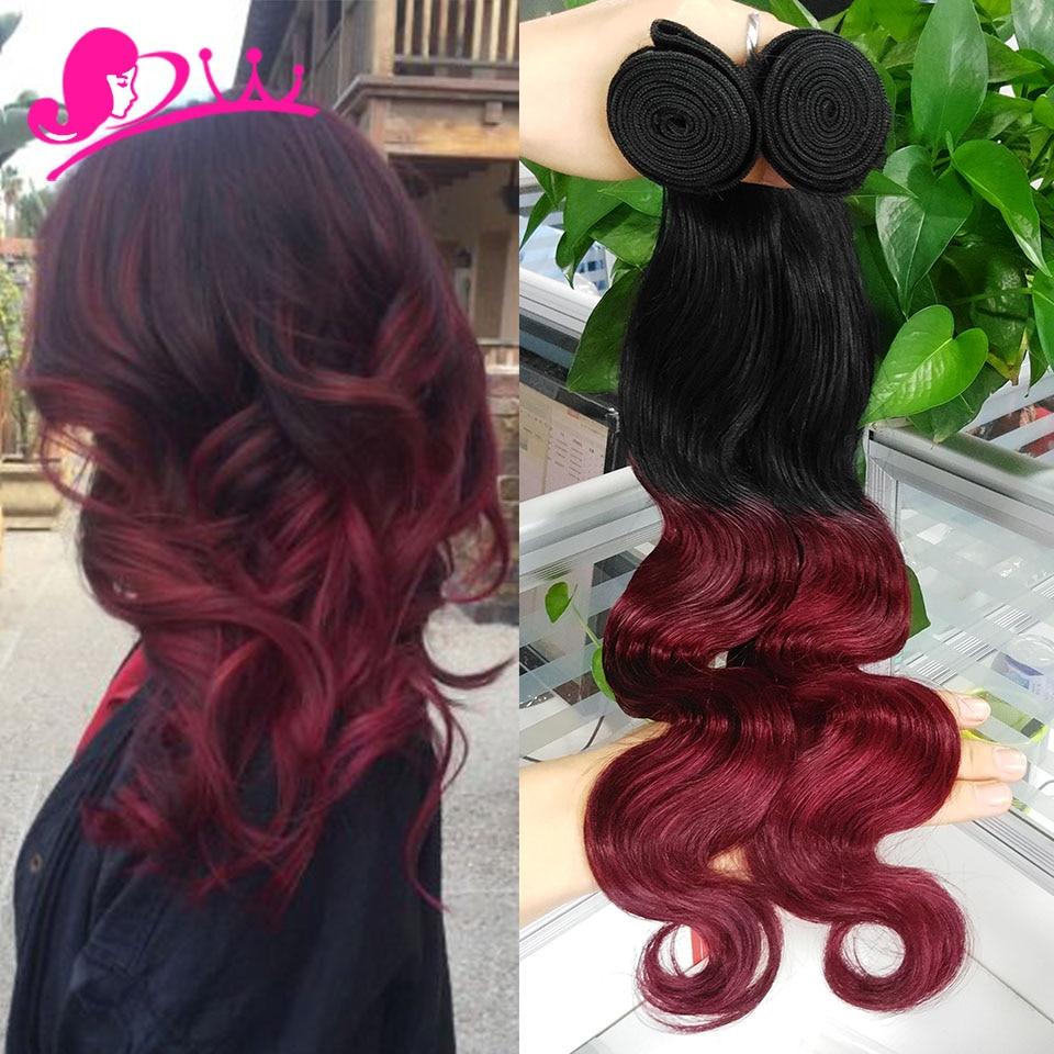 Brazilian Body Wave Hair Weave Bundles Ombre Burgundy Human Hair Two
