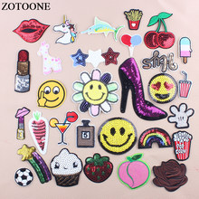 ZOTOONE Sequin Iron On Unicorn Fruit Food Patches For Clothing Embroidery Flower Rainbow Star Patch Stickers Fabric Appliques D(China)