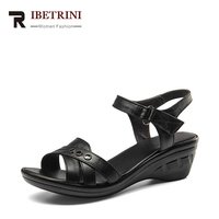 RIBETRINI Women Hot Sale Cow Leather Low Heel Wedges Summer Casual Shoes Woman Ankle Strap Open