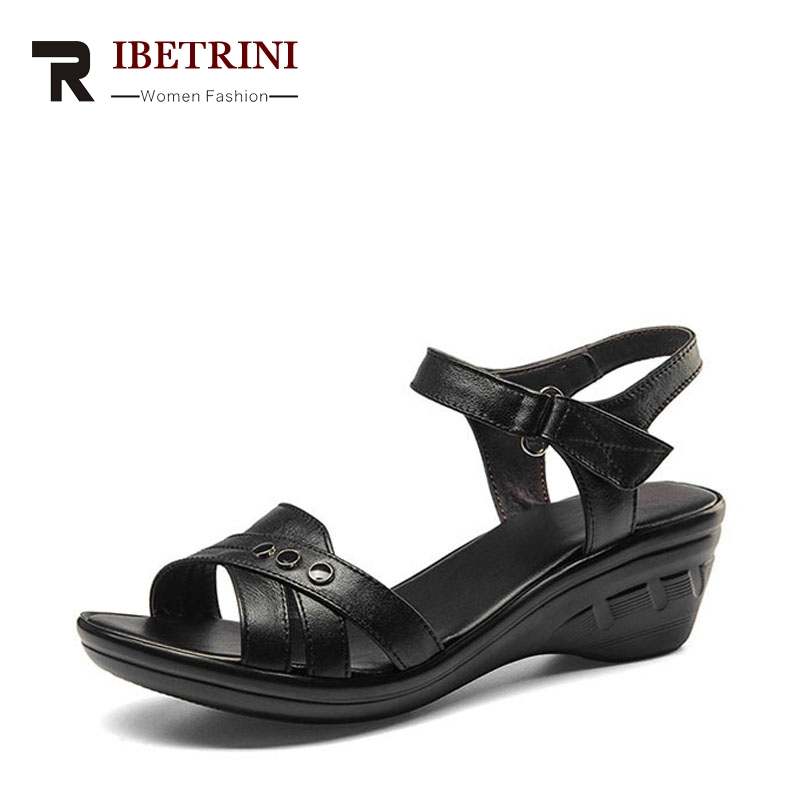 RIBETRINI Women Hot Sale Cow leather Low Heel Wedges Summer Casual Shoes Woman Ankle Strap Open Toe Platform Sandals Size 34-39 rhinestone silver women sandals low heel summer shoes casual platform shiny gladiator sandal fashion casual sapato femimino hot