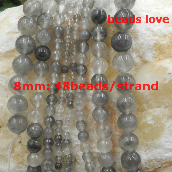Pick Size4 .6.8 .10 12MM Natural Demon Quartz  Stone  Round Loose  Beads 15.5Strand Free Shipping-F00199
