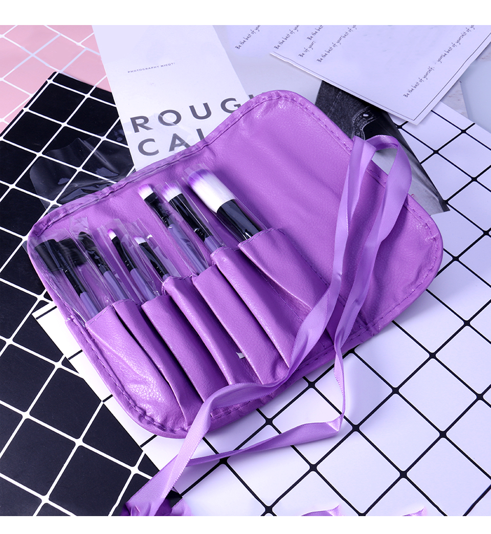 O.TWO.O Makeup Brushes Set 7pcs/lot Soft Synthetic Hair Blush Eyeshadow Lips Make Up Brush With Leather Case For Beginner Brush 25