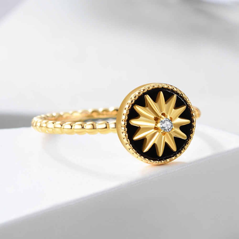 E prawdziwe 925 Sterling Silver Star Rings dla kobiet 18K pozłacane 3 kolor kamień agat Twist koło Ring Finger Fine Jewelry