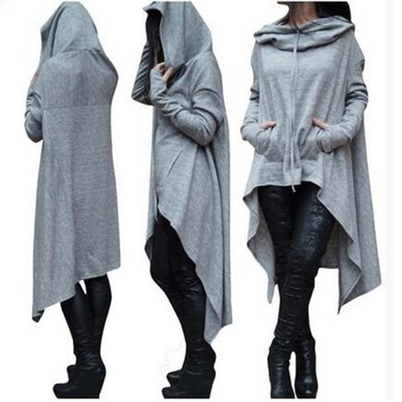 2017 new Women Pockets Long Hoodie Winter Spring Hoodies Scarf Collar Long Sleeve Fashion Casual Style