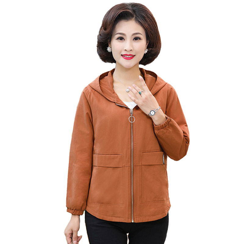 Short   Trench   Coat Women 2019 Spring Autumn Casual Top Middle aged Female Plus size 5XL Hooded   Trench   Coat Short Windbreaker H731