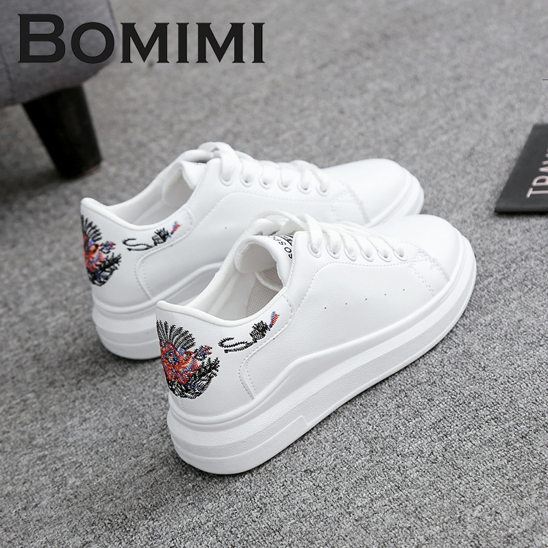 BOMIMI Women Canvas Shoes Fashion Embroidered Breathable