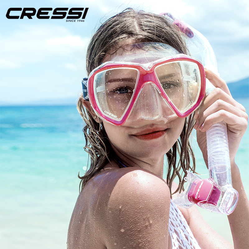 Cressi Ranger Dry Snorkeling Set Diving Mask Dry Snorkel Silicone Skirt Tempered Glass Lense Diving Mask