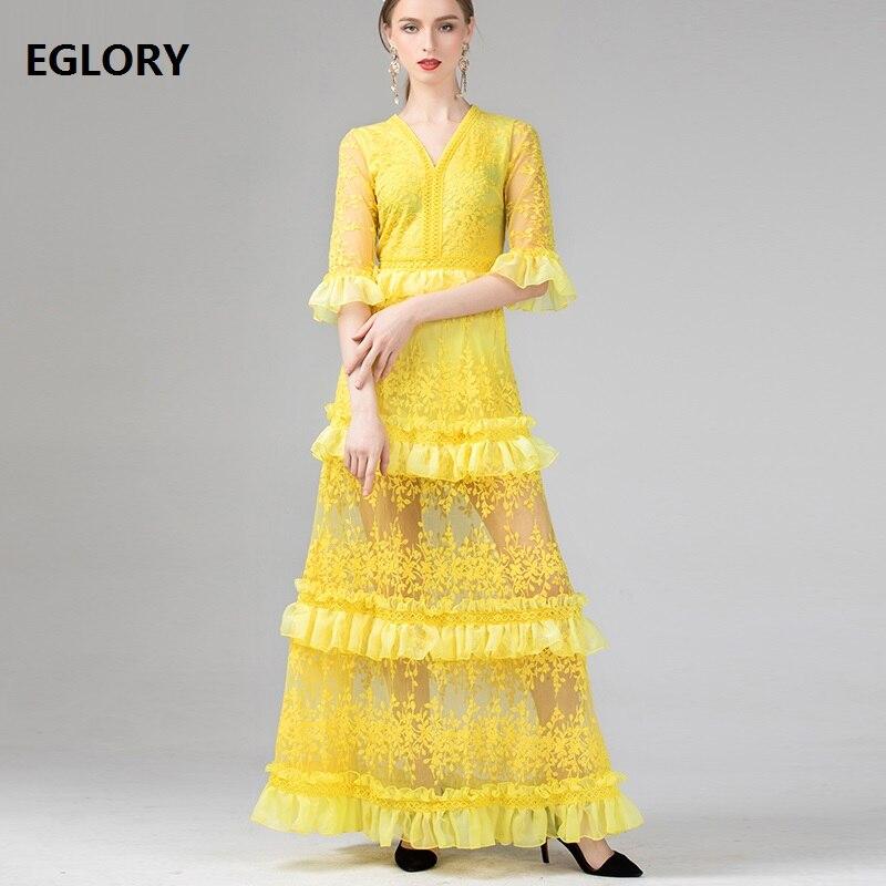 Longueur de plancher robe 2019 automne mode mariage fête femmes v-cou Allover luxueux broderie 3/4 manches jaune longue robe