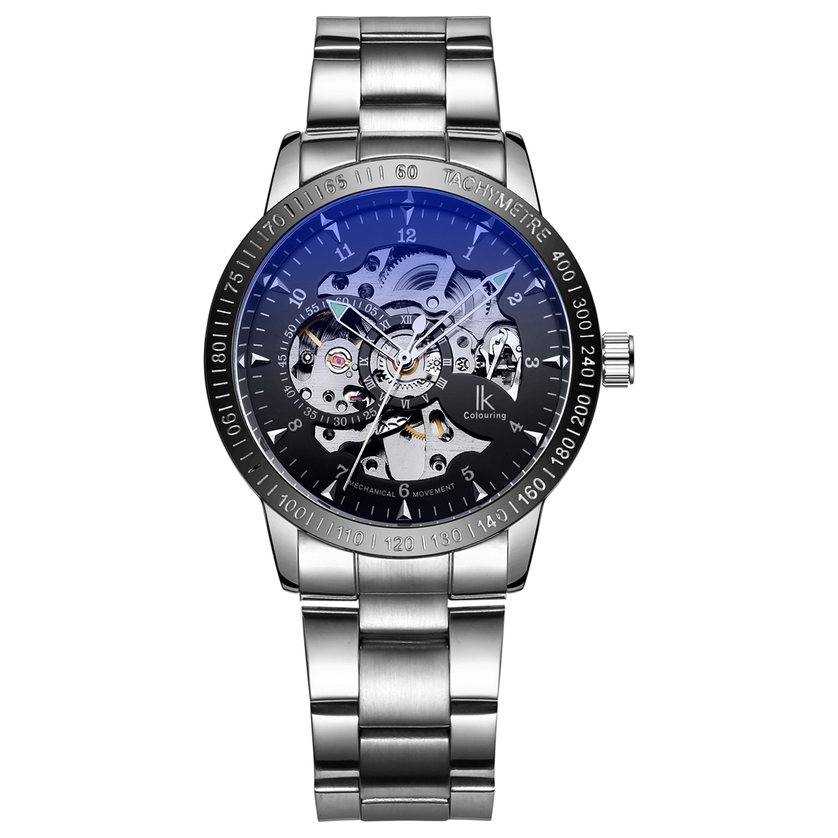 IK colouring Stainless Steel Luminous Automatic Mechanical Watches Men Brand Luxury Transparent Hollow Skeleton Military Watch ik colouring automatic mechanical watch decorative small dials luminous pointer hollow back case stainless steel men wristwatch