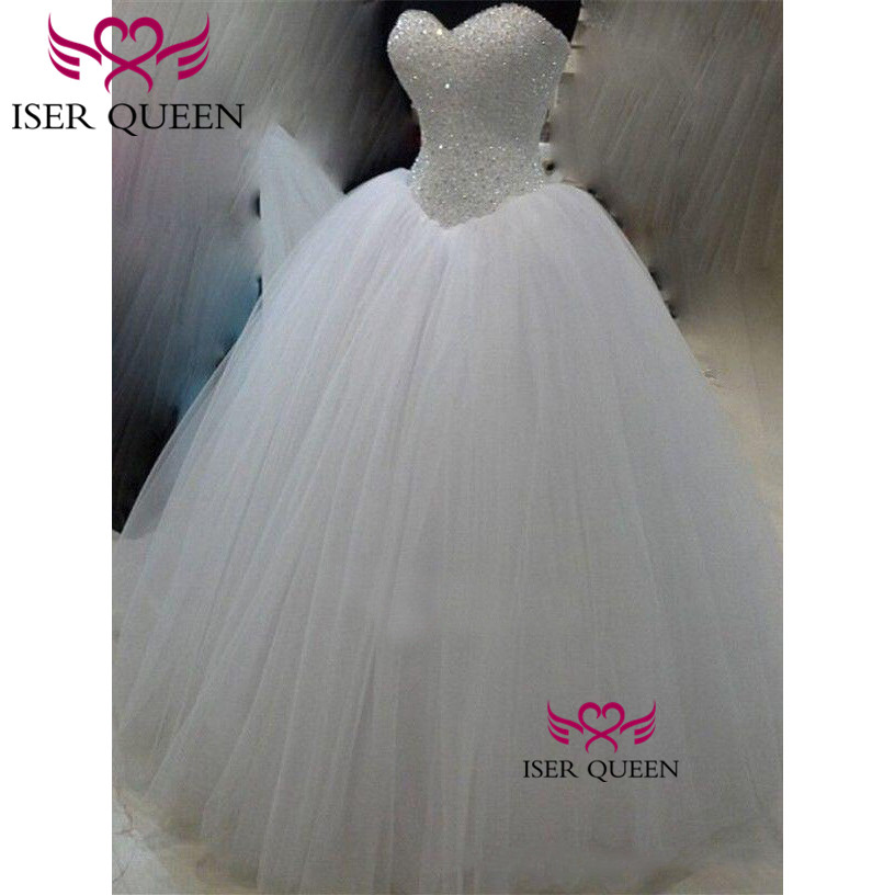 Pearls Sweetheart Neckline Crystal Bright Sequined Wedding Dresses Tulle Ivory Color Luxury Beading Ball Gown W0515